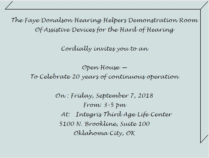 20th Anniversary of The Faye Donalson Hearing Helpers Room Open House on September 7